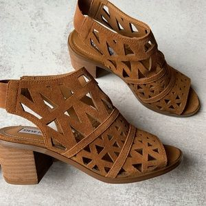 Steve Madden Stacked Heel Open Toe Cut Out Booties